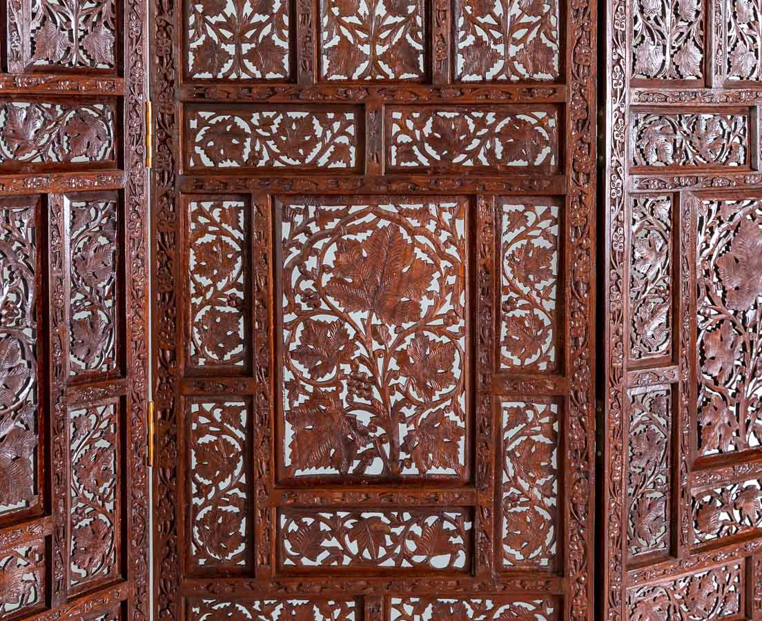 VAR-158 2L Walnut Wooden Hand Carved Four Panel Screen l The Past Perfect Collection l Singapore