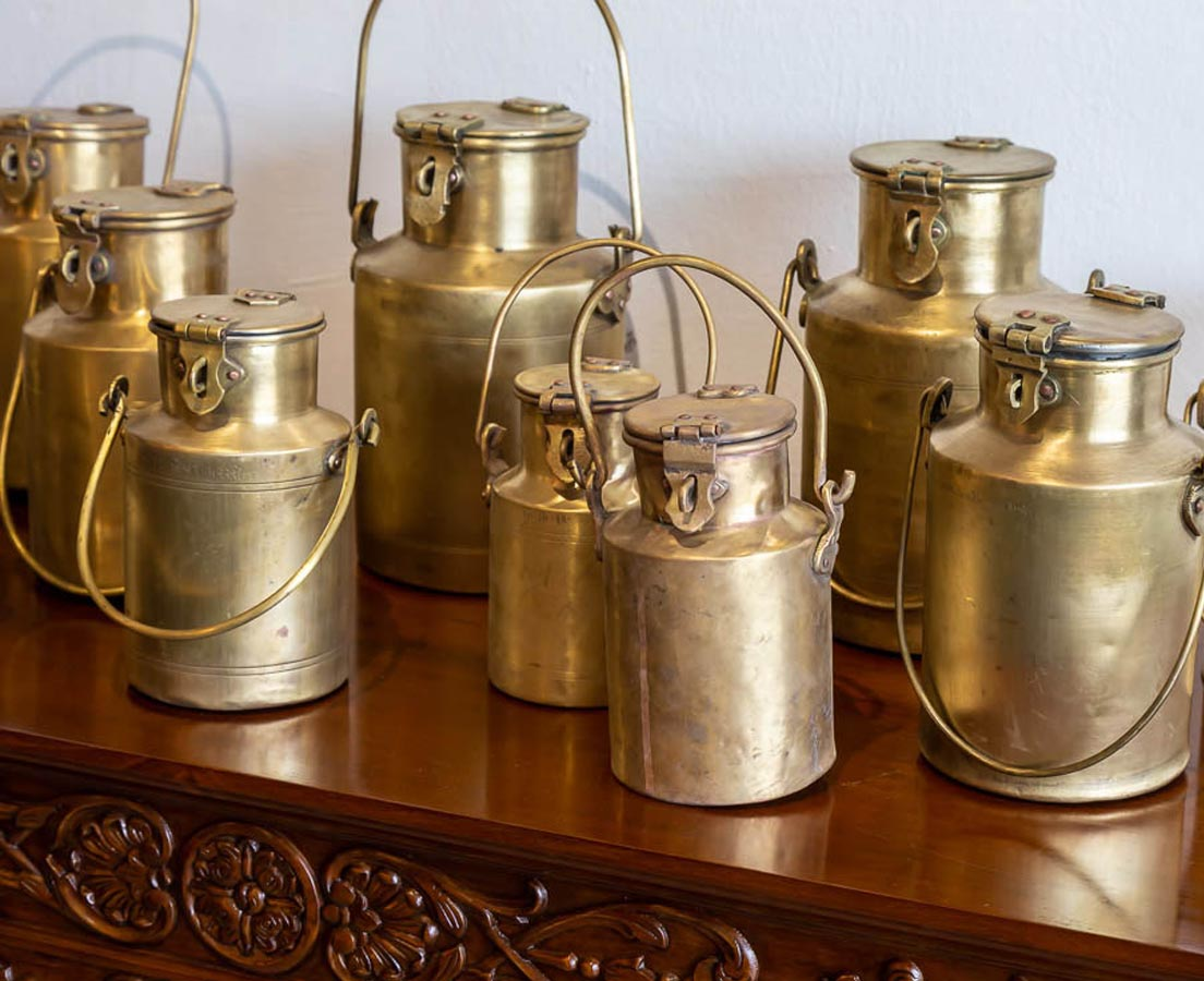 DEC-237-2L Brass Milk Containers l The Past Perfect Collection l Singapore